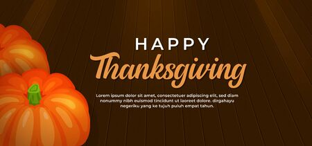 Happy thanksgiving day text with pumpkin fruit on wooden floor vector illustration banner template Иллюстрация