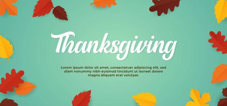 Simple soft color Thanksgiving background text with fall dry leaves vector illustration banner template