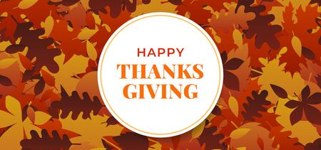 Happy thanksgiving day badge with fall dry leaves background vector illustration banner template.