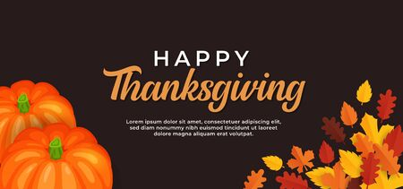 Happy thanksgiving day text background design with pumpkin fruit and dry leaves vector illustration banner template Иллюстрация