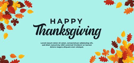 Happy thanksgiving text background. simple minimal banner with dry leaves vector illustration.