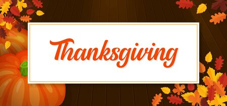 Thanksgiving text banner background with pumpkin fruit and dry leaves on wooden floor vector illustration
