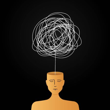 complicated abstract mind illustration. empty head with messy line inside. tangled scribble doodle vector path design. Иллюстрация