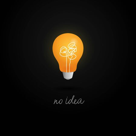 no creativity complicated idea concept illustration. light bulb with messy filament thread line vector design.