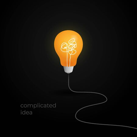 no creativity complicated thinking concept illustration. light bulb with messy filament thread line and wire cable vector background design. Иллюстрация