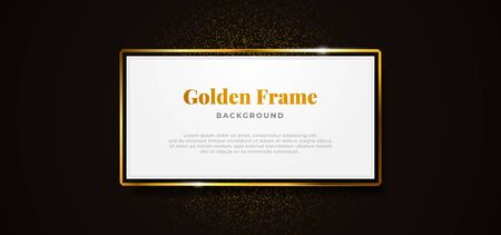 white paper board golden sparkling box frame with gold glitter decoration vector illustration. professional banner template design