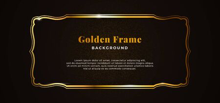 Golden decorative sparkling frame with gold glitter on dark black paper board background vector illustration. elegant banner template design