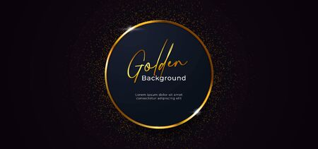 golden sparkling ring circle with gold glitter decoration effect on dark blue background vector illustration. beautiful elegant badge template design