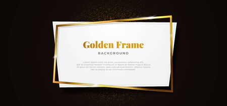 golden sparkling abstract square whit clean white paper board shape on dark black background vector illustration. banner template design. Иллюстрация