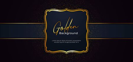 golden decorative sparkling frame with gold glitter decoration effect on dark blue paper background with ribbon vector illustration. poster banner template design Иллюстрация