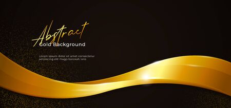 Golden sparkling abstract fluid wave vector illustration with gold glitter on dark black paper background. poster banner template design. Иллюстрация