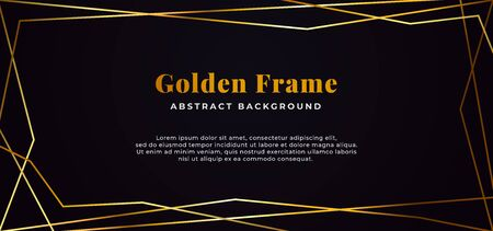 geometric shape line abstract golden fame on dark black paper background vector illustration. banner template design. Иллюстрация