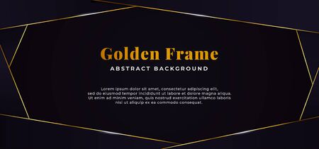 dark blue cut paper with golden line frame decoration. abstract banner background vector illustration design.