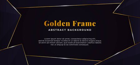 geometric abstract shape with golden line border frame decoration. dark blue paper background vector illustration. banner template design.