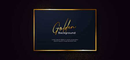 golden sparkling box frame with gold glitter effect. Square dark blue paper board badge on black background vector illustration. banner template design.