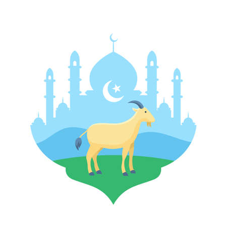 Goat at mosque courtyard vector flat illustration for Eid Al Adha the sacrifice of livestock animal muslim holiday poster background design Vettoriali