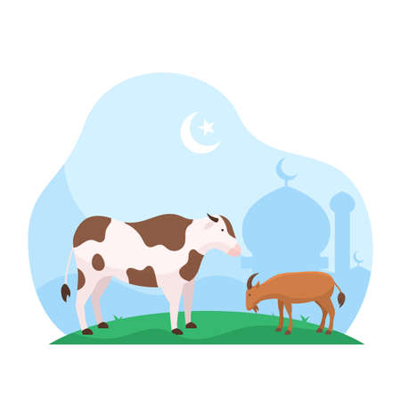 Eid Al Adha islamic holiday the sacrifice of livestock animal poster background design. Cow and goat at mosque courtyard for qurban vector illustration Reklamní fotografie - 156119243
