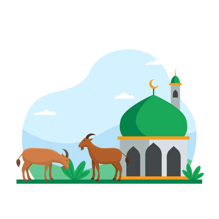 Eid Al Adha islamic holiday the sacrifice of livestock animal poster background design. Goat at mosque courtyard for qurban vector illustration Ilustrace