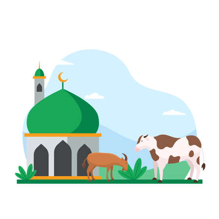Eid Al Adha islamic holiday the sacrifice of livestock animal poster background design. Cow and goat at mosque courtyard for qurban vector illustration Ilustrace
