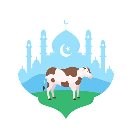 Cow at mosque courtyard vector flat illustration for Eid Al Adha the sacrifice of livestock animal muslim holiday poster background design