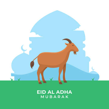Eid Al Adha islamic holiday poster background. The sacrifice of goat livestock animal vector illustration Ilustrace