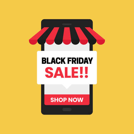 Black friday sale mobile app online shop social media promotion poster vector template design
