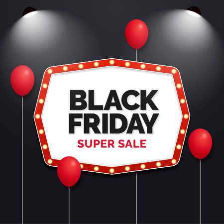Black friday super sale social media banner with cinema neon bulb movie theater sign illustration Ilustrace