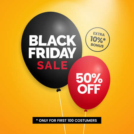 Black friday sale simple social media poster promotion with balloon illustration on yellow backdrop background Ilustrace