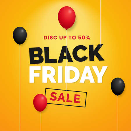 Black friday sale social media typography poster with floating red and black balloon on yellow studio backdrop background Ilustrace