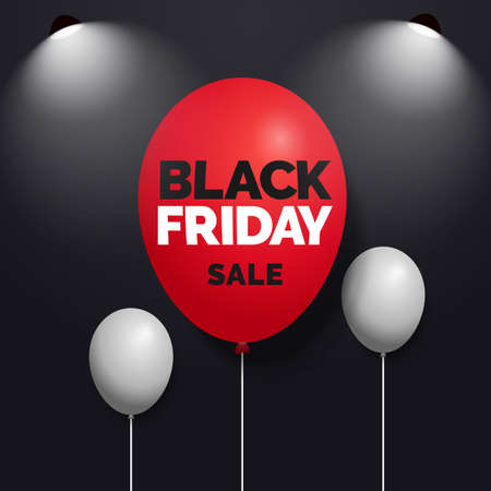 Black friday sale text on red balloon with spotlight lamp and dark background social media banner vector design Ilustrace