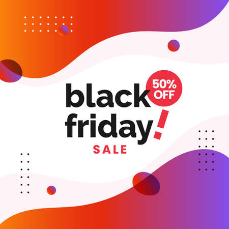 Black friday sale social media poster design with modern abstract fluid liquid background vector illustration