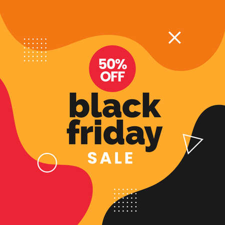 Black friday sale social media poster promotion with simple geometric abstract background vector illustration