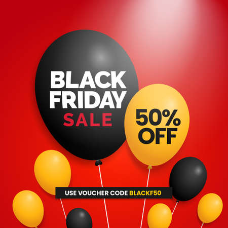 Black friday sale social media poster promotion with balloons vector illustration template design