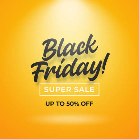 Black friday super sale typography text with spotlight effect on yellow backdrop studio background vector design