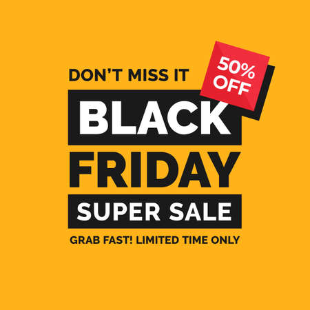 Black friday simple typography social media poster design with minimal shape vector illustration