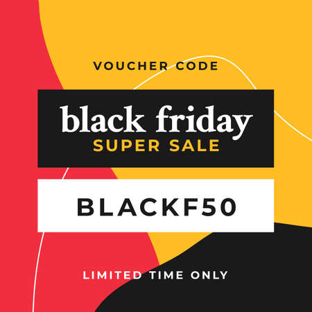 Black friday super sale social media poster design with modern abstract geometric background vector illustration