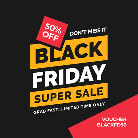 Black friday typography social media poster design with minimal shape vector illustration Ilustrace