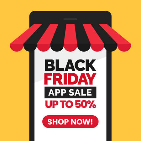 Black Friday app sale social media poster promotion with mobile store vector illustration