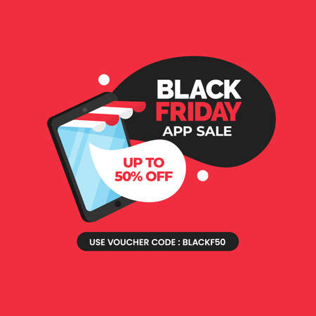 Black friday app sale social media poster design with mobile online shop smartphone vector illustration