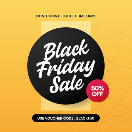 Black friday sale typography social media poster vector with simple modern
