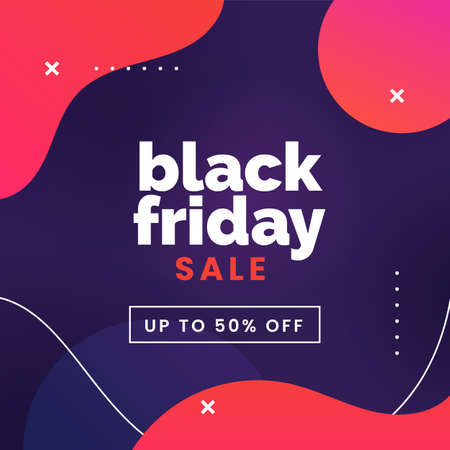 Black friday sale social media poster promotion with modern abstract geometric background vector illustration