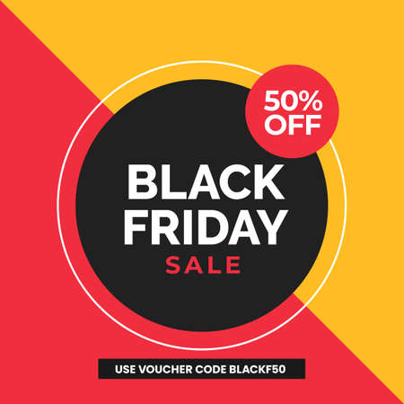 Black friday sale social media poster banner with modern abstract geometric vector illustration