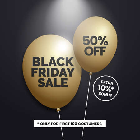 Black friday sale social media poster with gold balloon vector illustration