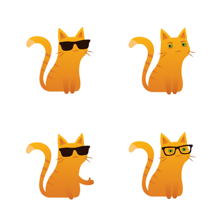 Cute red ginger cat vector illustration sunglasses thumbs up