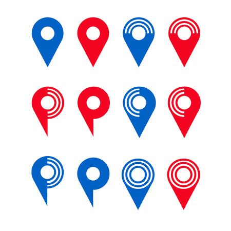 Collection of vector map pins Ilustração