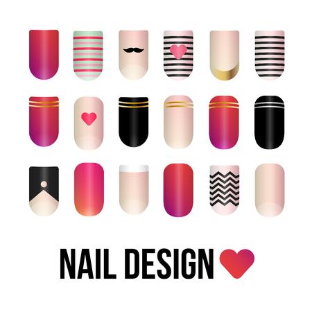 nails: 3d vector illustration of colorful nails. Illustration