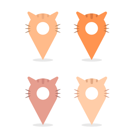 Collection of vector map pins illustrated as cute cat characters isolated on white background. Funny animal map pointers for kids and zoo. Illustration