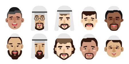 Collection of simple vector illustrations of multiracial and multicultural face avatars. People of race 版權商用圖片 - 129481910