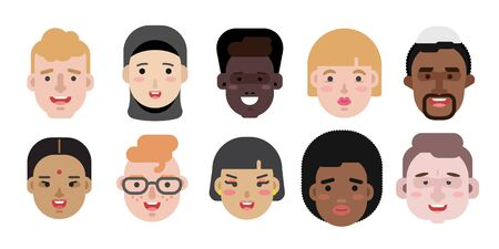 Collection of simple vector illustrations of multiracial and multicultural face avatars. People of race