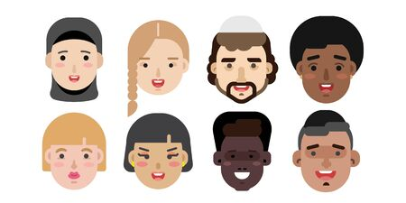 Africain, afro, américain, arabe, arabe, arabe, avatar, noir, marron, peau brune, peau brune à plat, fille, cheveux gris, cheveux, tête, humain, icône, illustration, individualité, isolé, multiracial, personnes, personne, portrait, profil, jeune Vecteurs